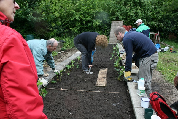 Community Group Planting Donated Seeds in Raised Bed